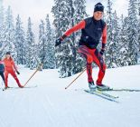 Cross-country skiing in winter holiday